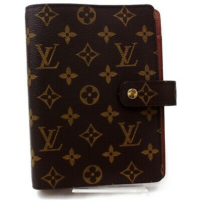 Authentic Louis Vuitton Diary Cover Agenda MM Browns Monogram 819105
