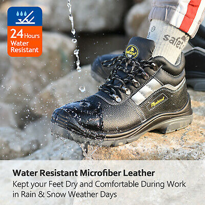 Safetoe Safety Shoes Boots Mens Steel Toe Reflective ESD Water-resistant Leather