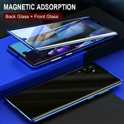 For Samsung Note 10+ Plus S10 S9 Magnetic Double Sided Tempered Glass Case Cover