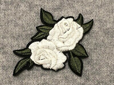 White Rose Flower Embroidery Clothing Iron-On Patch Badge Applique