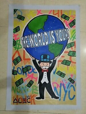 """48x32/"""" inches Alec Monopoly /""""The World Is Yours/"""" HD print on canvas large size"""