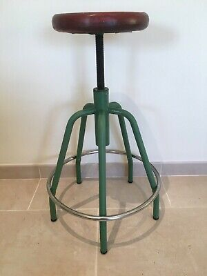 Vintage Retro Industrial Adjustable Metal & Wood Stool *