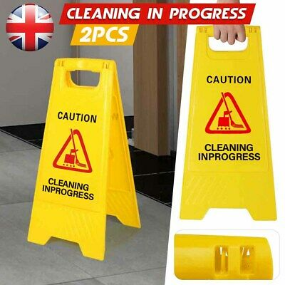 CAUTION WET FLOOR Sign Cleaning in Progress Yellow Warning Cone Safety Hazard