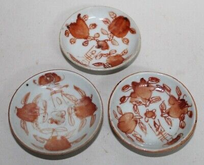 Three! CHINESE Little Bowls ANTIQUE Hand Painted PEACHES
