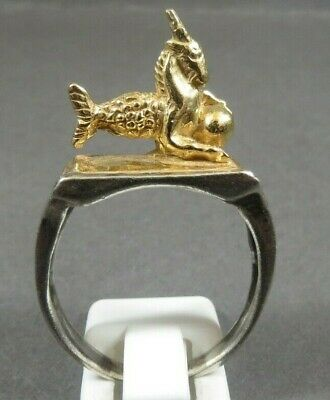 Unique Ancient Roman Military Legionary Silver Ring Capricorn Circa 57Bc-260Ad
