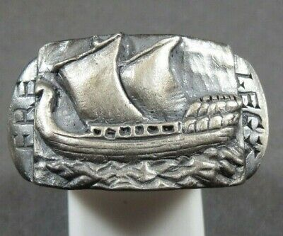 Ancient Roman Military Legionary Silver Ring Legion X Warship Circa 40Bc-260Ad