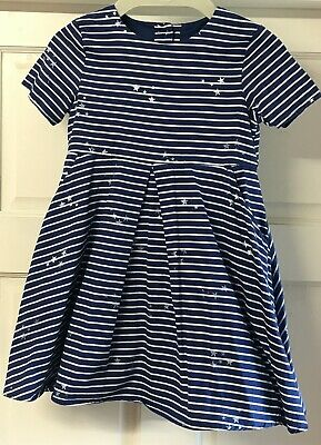 Girls Joules Blue & White Striped Star Design  Dress Age 4 years