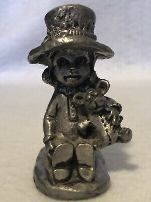 Signed Handcrafted Ricker 1975 Pewter Girl Figurine, Teddy Bear & Hat w/label