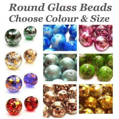Round Glass Beads, Drawbench, Spectra, Marbled, Choose, Colour, 8mm, 10mm,12mm