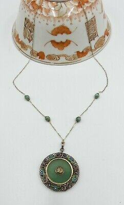 Old Chinese sterling silver & enamel filigree round jade pendant necklace