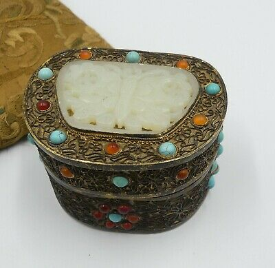 Vintage Chinese carved ( Hetian ) ? jade gold gilt filigree turquoise carnelian