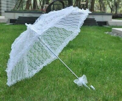 Umbrella Lace Embroidered  Long Parasol Wedding Bridal Party Vintage Decoration
