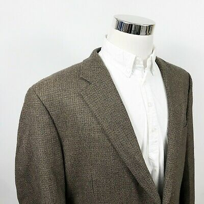 Chaps Mens 46R Sport Coat Brown Beige Check 100% Wool Two Button Lined Vented