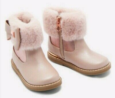Ted Baker Coryia Girls Infants Pink Rose Gold Faux Fur Cuff Ankle Boots size 6