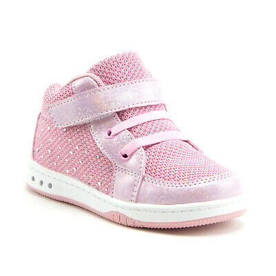 Jazamé Toddler Girls' Kids High-Top Faux Lace Easy Fashion Sneakers Shoes