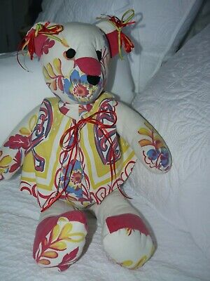 Hand Made Vintage 1950's Heavy Cotton Tablecloth Bear Colorful w Vest Bows SWEET