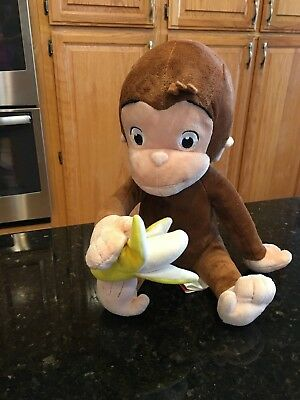 "Curious George monkey Official Movie Merchandise plush holding banana 14"" EUC"