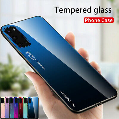 Gradient Tempered Glass Hard Case Cover For Samsung Galaxy S20 Ultra A21 A01 A51