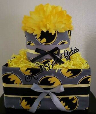 "The ""Batman"" Baby Boy Square Diaper Cake By ArricksBabyCakes 🖤🖤 *Luvs Diapers*"