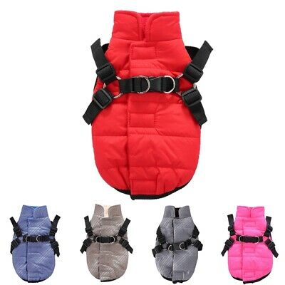 Pet Winter Cold Windproof And Harness Dog Puppy Fleece Warm Vest Coat Clothes UK