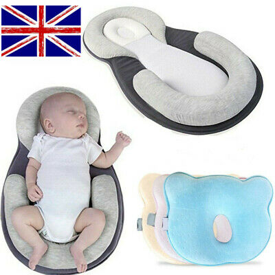 UK Cotton Newborn Baby Infant Pillow Positioner Prevent Flat Head Anti Roll Home