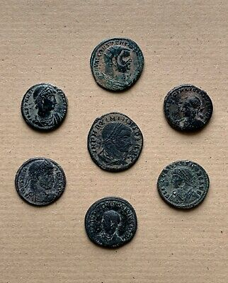 Lot of seven bronze late roman follis, different types. A very nice collection!