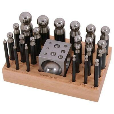 Doming Set 13 Piece Jewellers Tool Solid Steel 2.3-11.5mm On Stand With Block