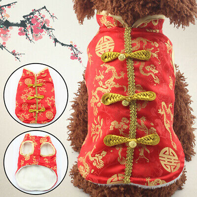 Pet Dog Puppy Winter Chinese Embroidery Clothes 2020 New Year Costume Coat Funny