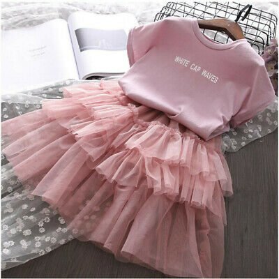 2PCS Toddler Kids Baby Girls Outfits Clothes Letter T-shirt Tops+Tulle Skirt Set