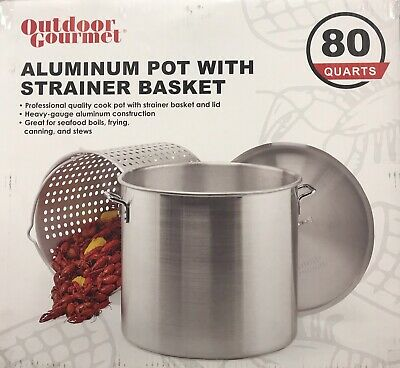 Gourmet 80QT Aluminum Pot with Strainer Crawfish Low Country Boil