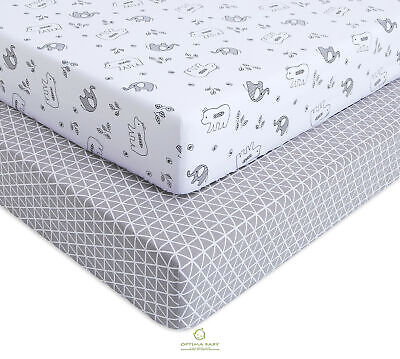 2 Pack Count Elephant Bear Gray White Fitted Crib Sheets By OptimaBaby
