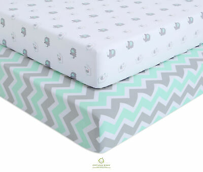 2 Pack Count Elephant Chevron Green Fitted Crib Sheets By OptimaBaby
