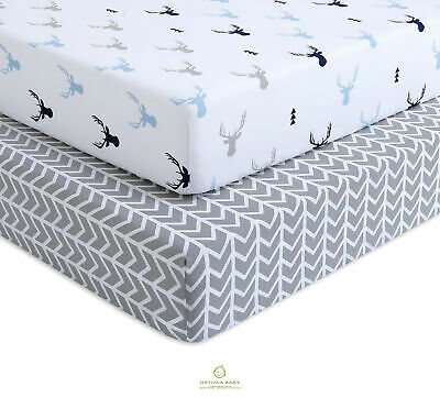 2 Pack Count Woodland Crib Sheets Deer Fitted Crib Sheets By OptimaBaby