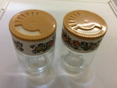 Vintage CORNING Ware SPICE OF LIFE Glass Jar Spice Shakers GEMCO