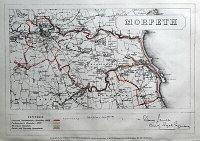 MORPETH, BLYTH, NORTHUMBERLAND, Bedlington,Stannington original antique map 1868