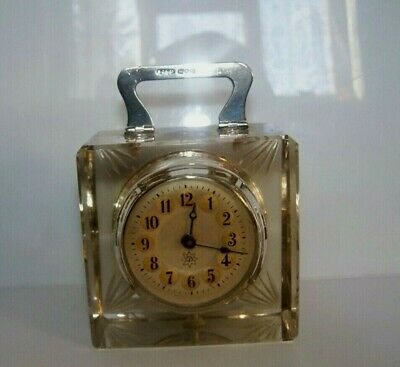 STUNNING junghans clock CRYSTAL GLASS STERLING SILVER HALLMARKED WORKING MANTEL