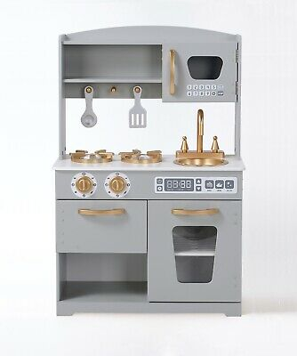 Used Hooga Play Kitchen Kids Large Wooden Toy Kitchen Play Set Grey N150