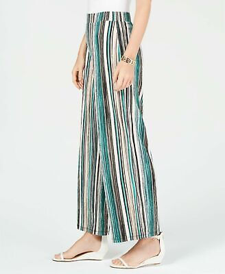 JM Collection Womens Pants Large Green Striped Elastic Pull On Wide Leg Lined