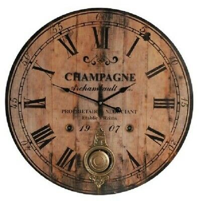 Champagne Wooden Wall Clock Brass Pendulum Roman Numeral Vintage Style 59 cm