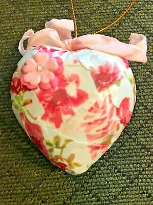 Valentine's Day Blue Floral Puffy Heart Ornament-1430