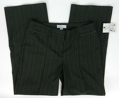 Nine & Co by Nine West 12 Pants Dark Charcoal Gray With Blue Beige Pinstripe New