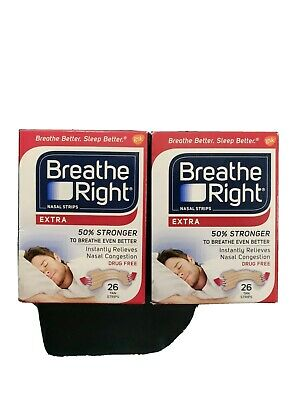 Breathe Right Extra Instantly Relieves Nasal Congestion 26 Tan Strips(2Boxes)
