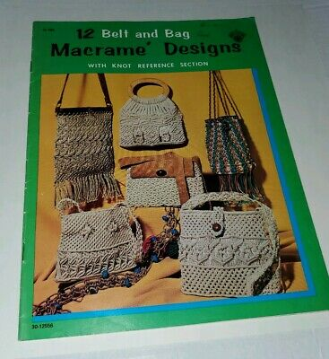 Vintage Macrame Pattern Book '12 Belt and Bag Macrame Designs' Purses, Belts ++