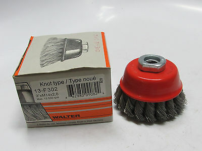 """new WALTER 13F302, 3"""" x .015"""" Wire Knot Knotted Twisted Cup Brush, M14 x 2 Arbor"""