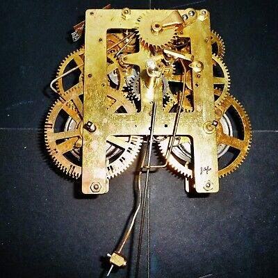 Wall Clock Brass Movement 8 Day Time & Strike in Running Condition, Antique Part
