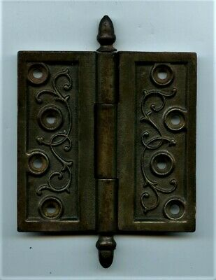 "1 Vintage Cast Iron Eastlake Hinge  6""  X 4 1/2""  Steeple Top + Screws"
