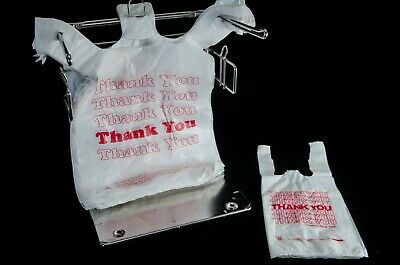 """2 x Retail Shopping Bag Holders with Plastic """"Thank You"""" Bags      2 bag sizes"""