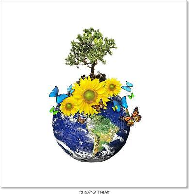 Earth With A Tree And Flowers Art//Canvas Print Wall Art Home Decor Poster