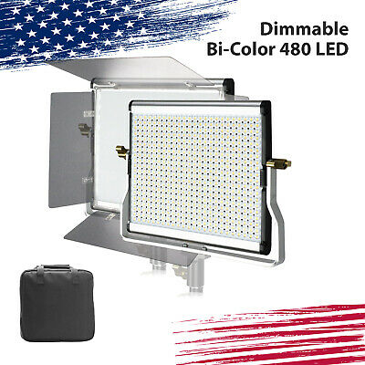 Dimmable Bi-color LED Video Light Panel for Studio w/ all in one Carry Bag 1Pack