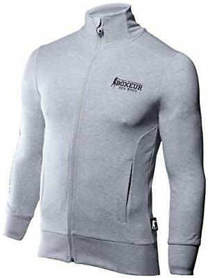 BOXEUR DES RUES Mens BXT-4476 Full Zip Sweatshirt, Grey Melange, XL